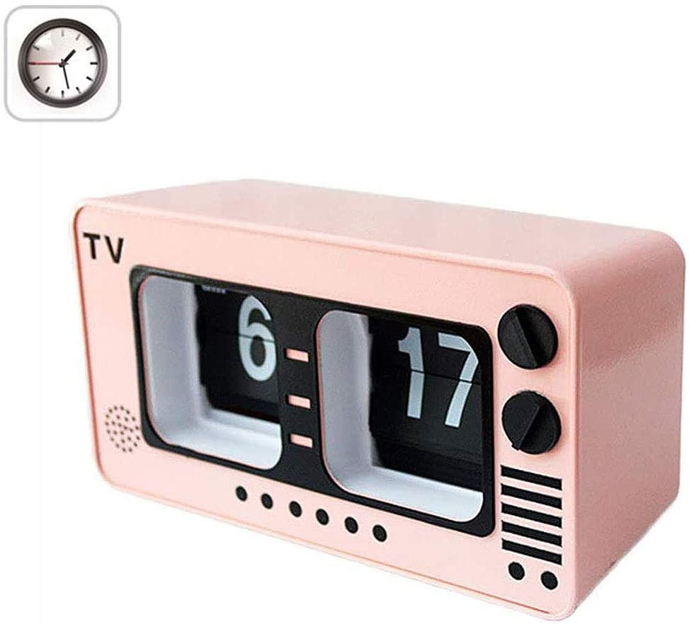 TV Digital Retro Flip Clock -televisión tirón automático del Reloj, número Grande de la Vendimia del Reloj, Relojes Digitales para Sala de Estar Decoración,Rosado: Amazon.es: Hogar