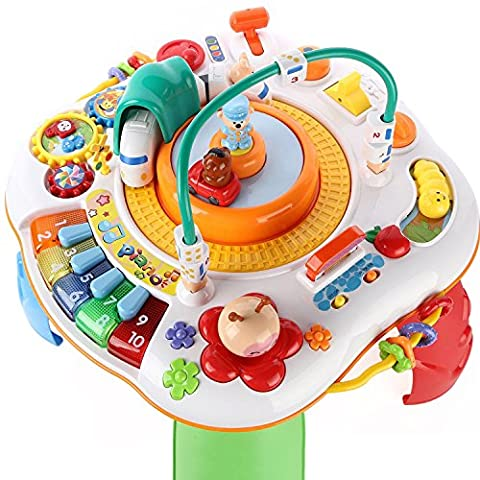 Activity Table with Musical Learning Center, Study, Magic Educational Electronic Toys Set (Piano, Train, Car, Beads, Gears, Vehicles) for 2, 3, 4, 5 Year Old And UP Kids, Toddler - iPlay, - Rc Little Rides Vehicle