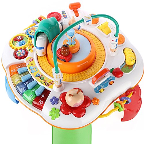 Activity Table with Musical Learning Center, Study, Magic Educational Electronic Toys Set (Piano, Train, Car, Beads, Gears, Vehicles) for 2, 3, 4, 5 Year Old And UP Kids, Toddler - iPlay, iLearn