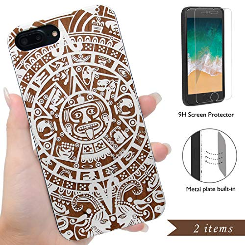 (iProductsUS Totem Phone Case Compatible with iPhone 8Plus, 7Plus, 6Plus, 6s Plus and Screen Protector-White Wood Cases Engrave Mayan Calendar, Built-in Metal Plate, TPU Protective Covers (5.5