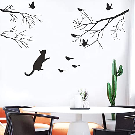 Bird Tree Branch Removable Wall Art Stickers Vinyl Decals Home Decor Mural DIY