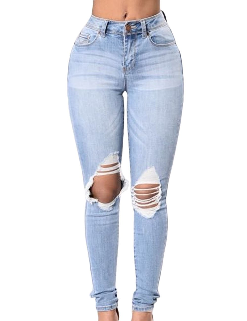BIUBIONG Women's High Waisted Distressed Skinny Ripped Jeans Pants for Summer