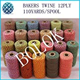 FINCOS (500pcs/lot) Cotton Baker Twine 110yards/spool,Gift Packing Twine, Colorful Twine 55 Color Mixed Wholesale
