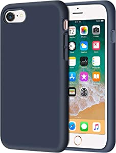 "Anuck iPhone SE 2020 Case, iPhone 8 Case, Non-Slip Liquid Silicone Gel Rubber Bumper Case Soft Microfiber Lining Hard Shell Shockproof Full-Body Protective Case Cover for iPhone 7/8/SE 4.7"" Dark Blue"