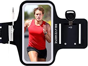 RAVESHINE Phone Holder Armband Running Case for iPhone 12 Pro 11 X XR XS MAX 8 Plus SE Samsung Galaxy S10e S10 S9 S8 Plus A50 Note10 9 LG G7 ThinQ LG Stylo 5 Moto Pixel XL Oneplus 7 6T - 6.5 Inch