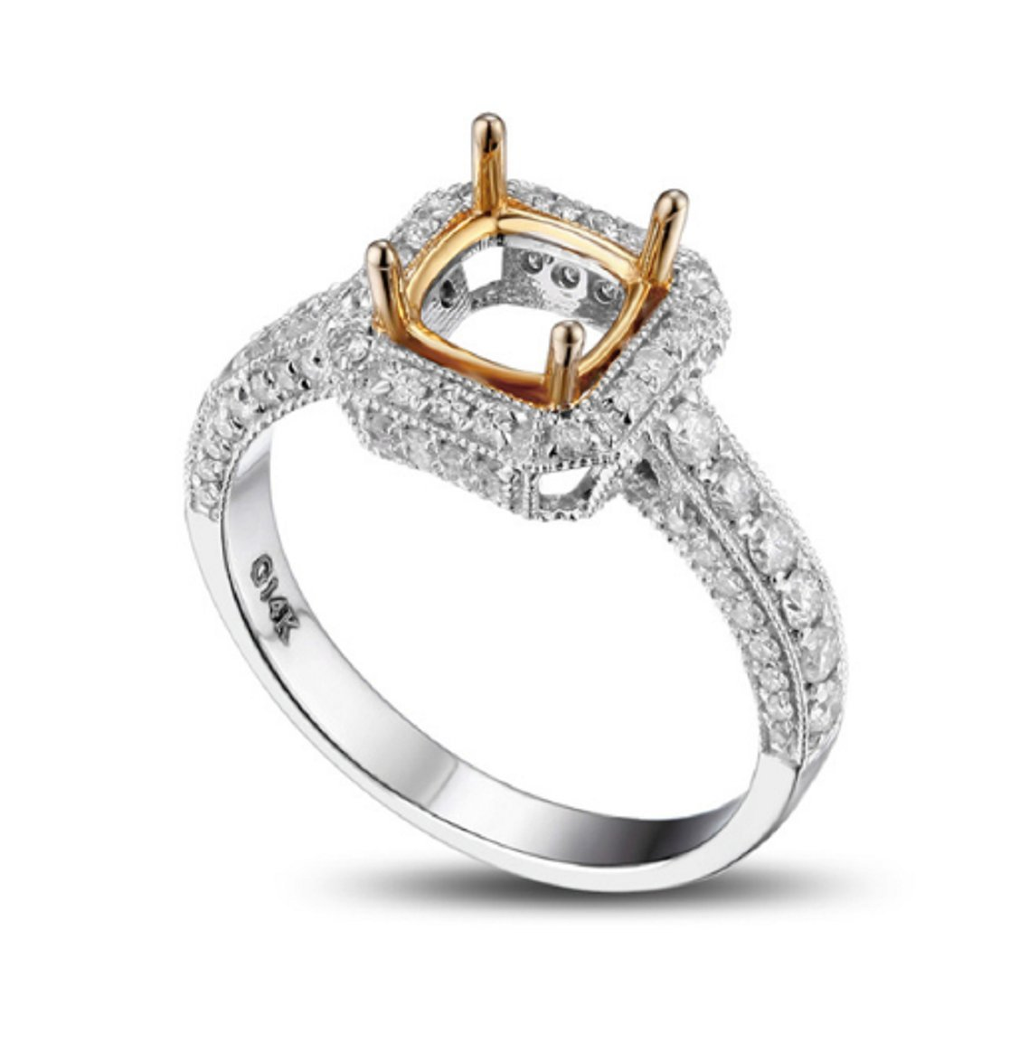 GOWE Cushion Cut 6x6mm Real 14K Multi-Tone Gold Milgrain Pave 0.78CT Diamond Semi Mount Ring