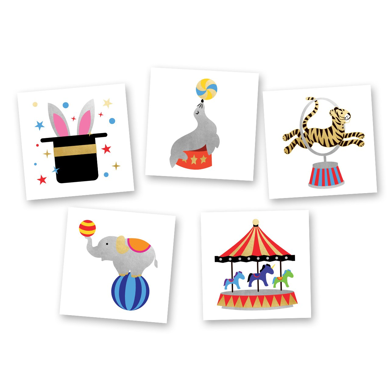 Circus Variety Set includes 25 assorted premium waterproof colorful metallic gold/silver/black kids temporary foil Flash Tattoos, party favor
