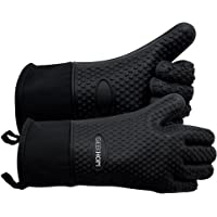 GEEKHOM Oven Mitts, Heat Resistant BBQ Gloves, Waterproof Silicone Gloves Kitchen Non-Slip Potholder with Extended Protection & Internal Cotton Layer for Barbecue, Cooking, Baking (Black)