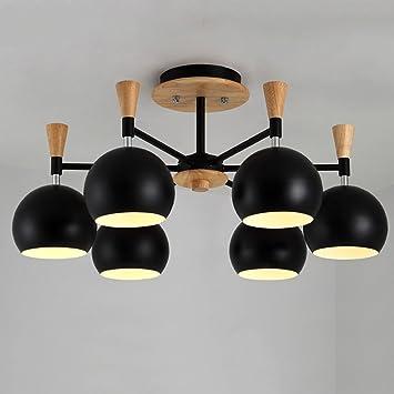 Gbt Nordic Industrial Style Eisen Lampenschirm Woody Kronleuchter Wohnzimmer  Restaurant Lampen Schwarz Wei 8