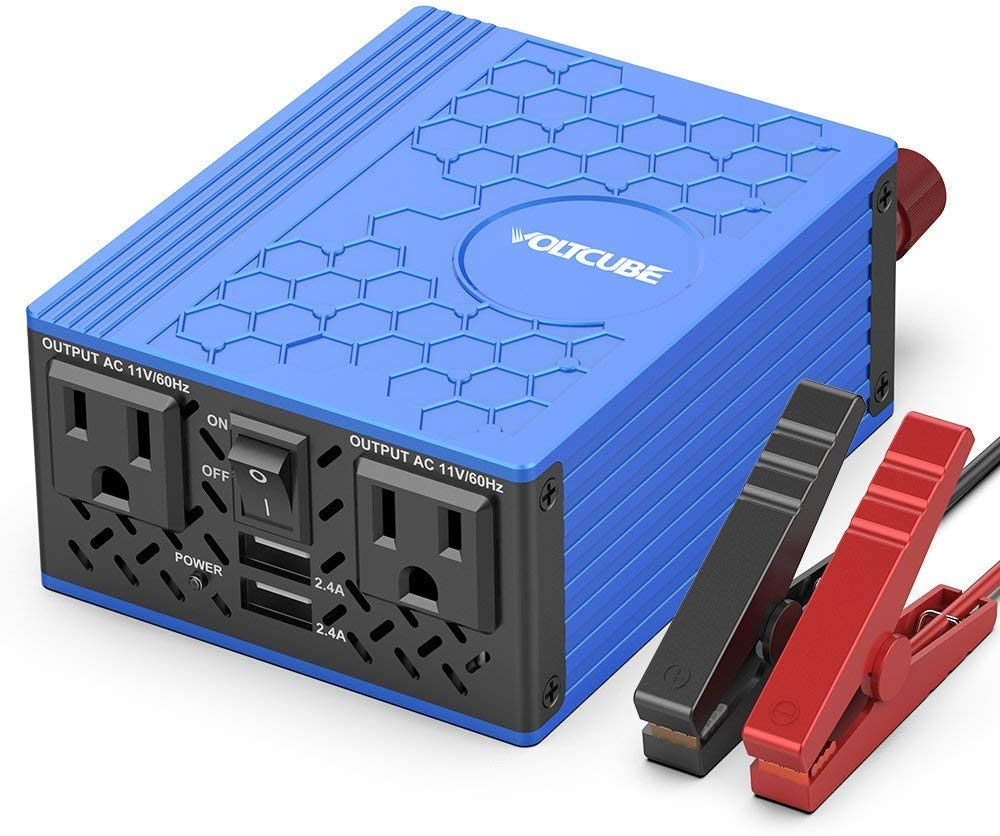 VOLTCUBE 400W Power Inverter, 12V DC to 110V AC Car Adapter with Twin 2.4A USB Ports and Two Independent AC Outlets Blue
