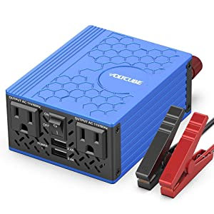 VOLTCUBE 400W Power Inverter, 12V DC to 110V AC Car Adapter with Twin 2.4A USB Ports and Two Independent AC Outlets (Blue)