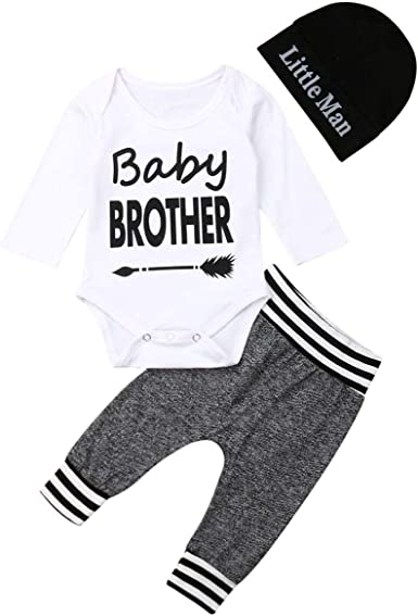 3PCS Newborn Baby Boy Outfits Romper Tops Cami Bodysuit Trousers Hat 0-18 Months