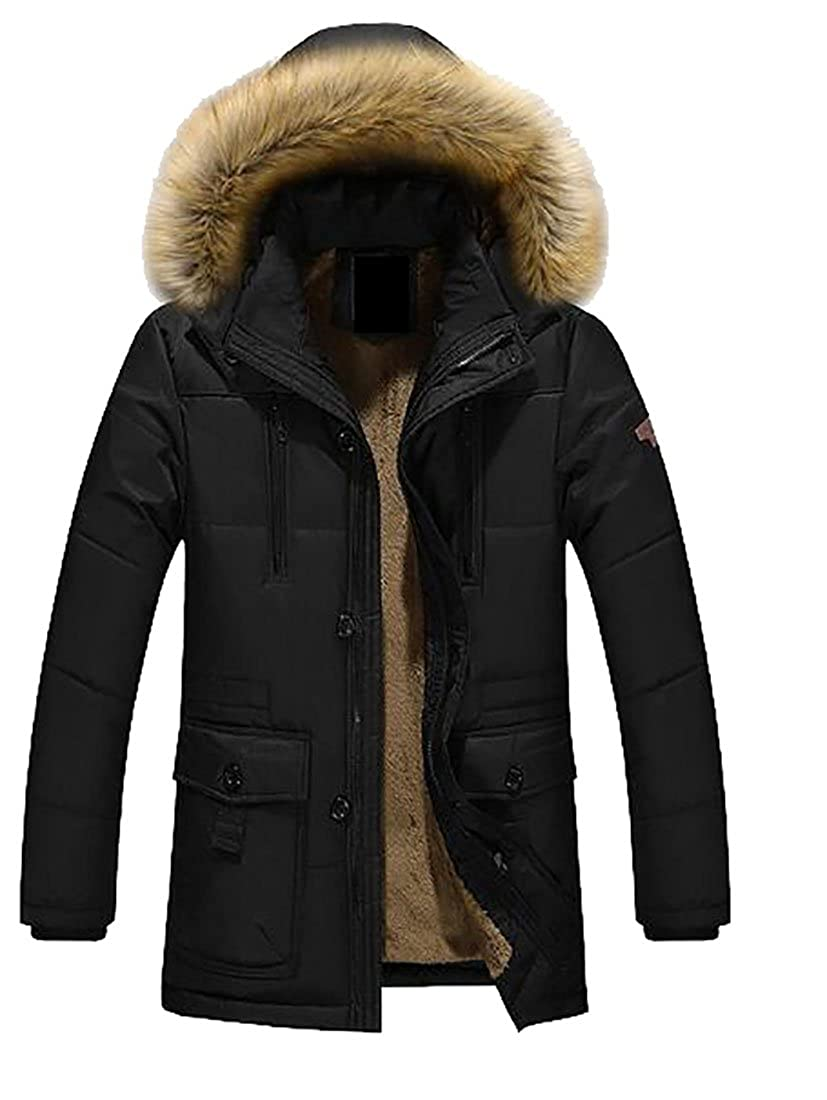 WANSHIYISHE-Men Winter Thicken Jacket Faux Fur Hood Length Parka Coat