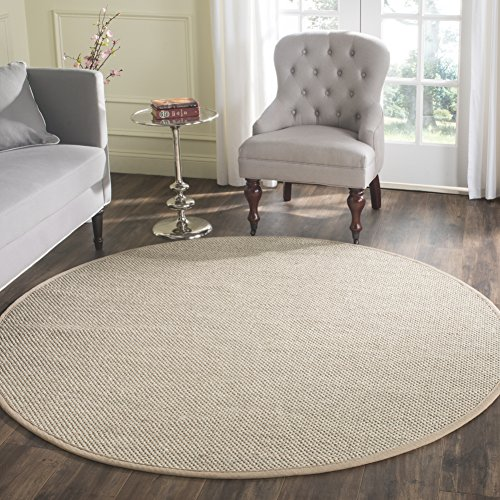 Safavieh Natural Fiber Collection NF143B Marble and Linen Sisal Round Area Rug (8' ()