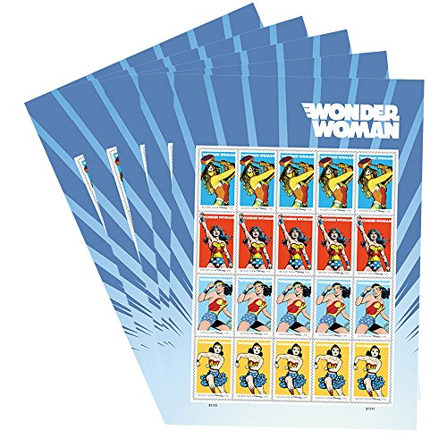 Wonder Woman 5 Sheets of 20 USPS Forever First Class Postage Stamps Super Hero Justice Equality Peace (100 Stamps)