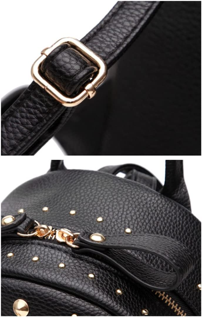 white Santwo Womens Mini Rivets Waterproof PU Leather Backpack Casual Daypack Shoulder Bag