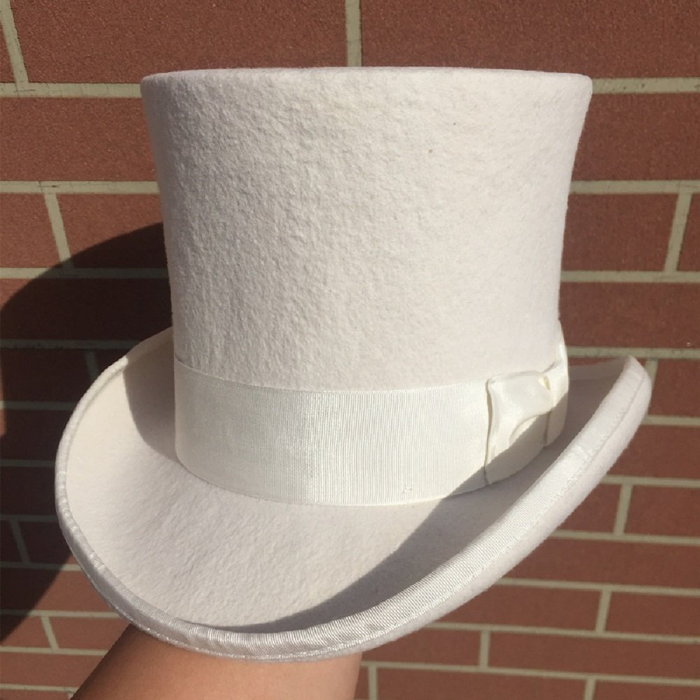 White Wool Felt Top Hat Wedding Uncle Sam 7 Tall Topper Hats for Women Men