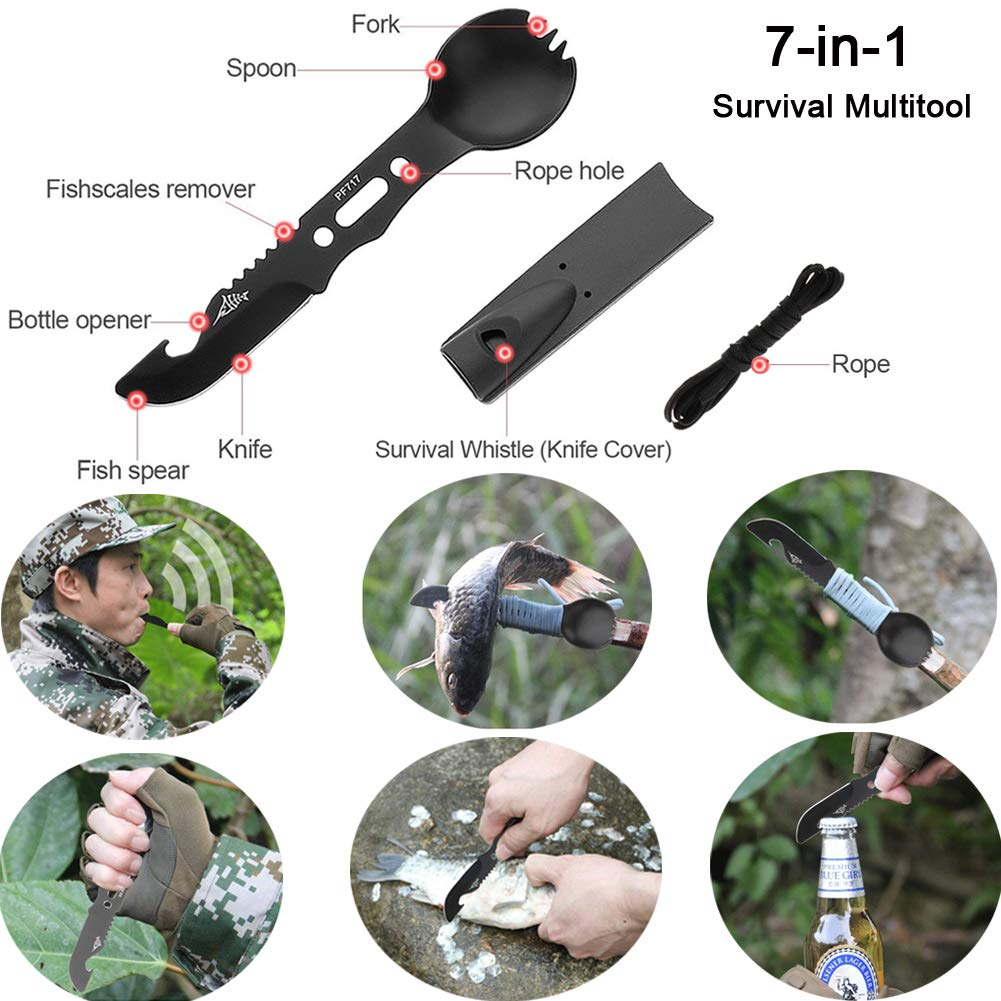 Tianers Emergency Survival Kit 16 in 1, Upgrade Compact Survival Gear, Tactical Survival Tool for Cars, Camping, Hiking, Hunting, Adventure Accessorie
