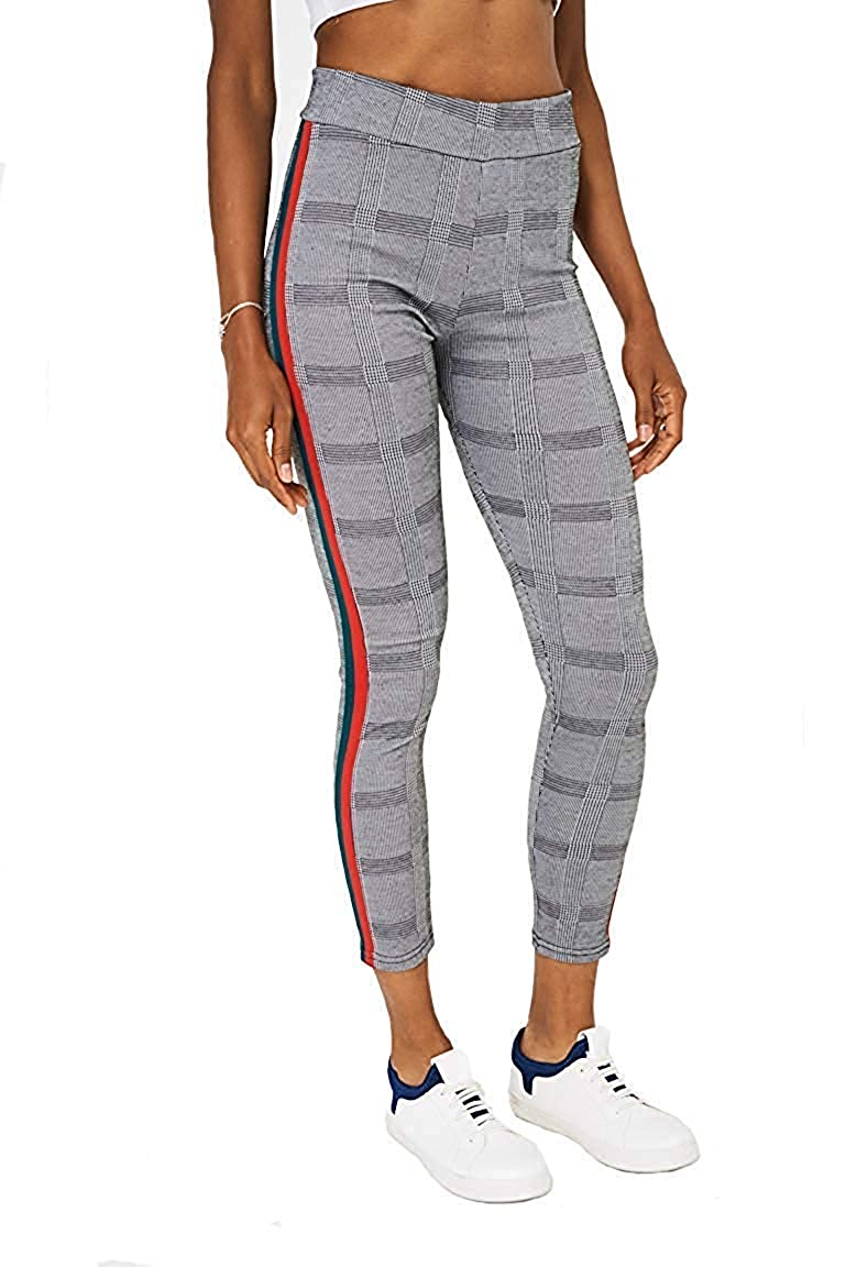 5294d605f0d250 ICW Checks Red Green Side Stripe Ankle Length Women Girls Teenagers Leggings  Black (FREE SIZE BEST FIT TO 28 TO 34): Amazon.in: Clothing & Accessories