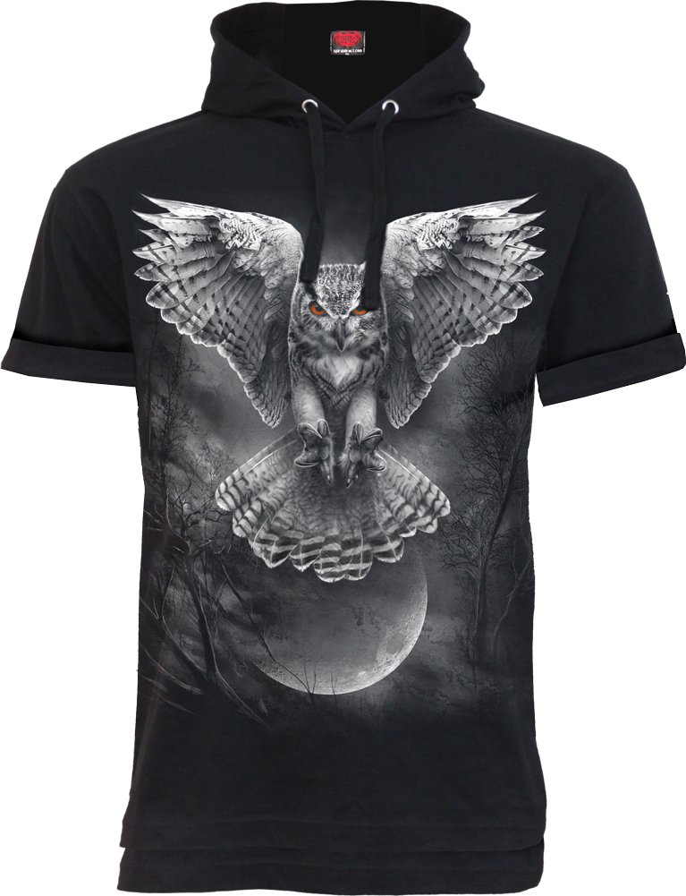 Spiral - Mens - Wings of Wisdom - Fine Cotton T-Shirt Hoody Black - S
