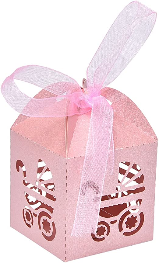 Laser Cut Carriage Gift Candy Favour Boxes For Baby Shower 3 Colours