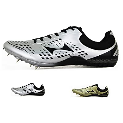 HEALTH Women's Men's Track and Field Shoes Track Spike Running Sprint Shoes Mesh Breathable Professional Athletic Shoes Gold & Silver | Track & Field & Cross Country