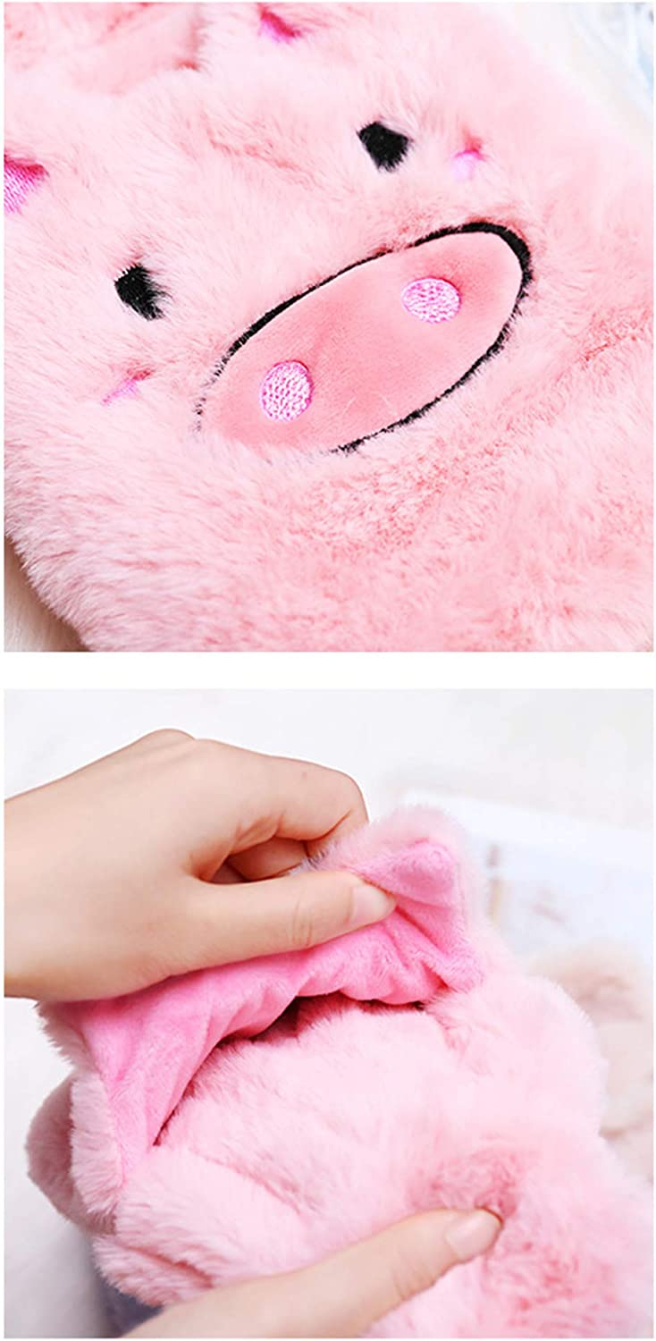 Great for Hot and Cold Therapy Khemn Cute Fluffy Pig//Bear Hot Water Bottle Hot Water Bag with Soft Fur Cover Brown Bear
