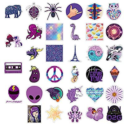 Yubbaex Purple Stickers 70 Pcs Cute Stickers Pack Waterproof Decal for Girls (Roman VSCO 70 Pcs): Computers & Accessories