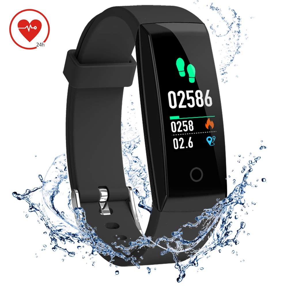 DoSmarter Activity Tracker,Color Screen Heart Rate Monitor Pedometer Watch, Waterproof Fitness Health Tracker Smart Band with Step Calories Counter