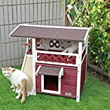 "Petsfit 2-Story Outdoor Weatherproof Cat House/Condo/Shelter with Scratching Pad 30""x22""x29"""