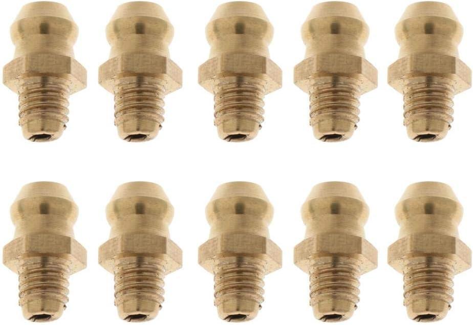 perfk 10 St/ück Gerade Schmiernippel Fettnippel Nippel Fitting f/ür Fettpresse M6x1 Golden