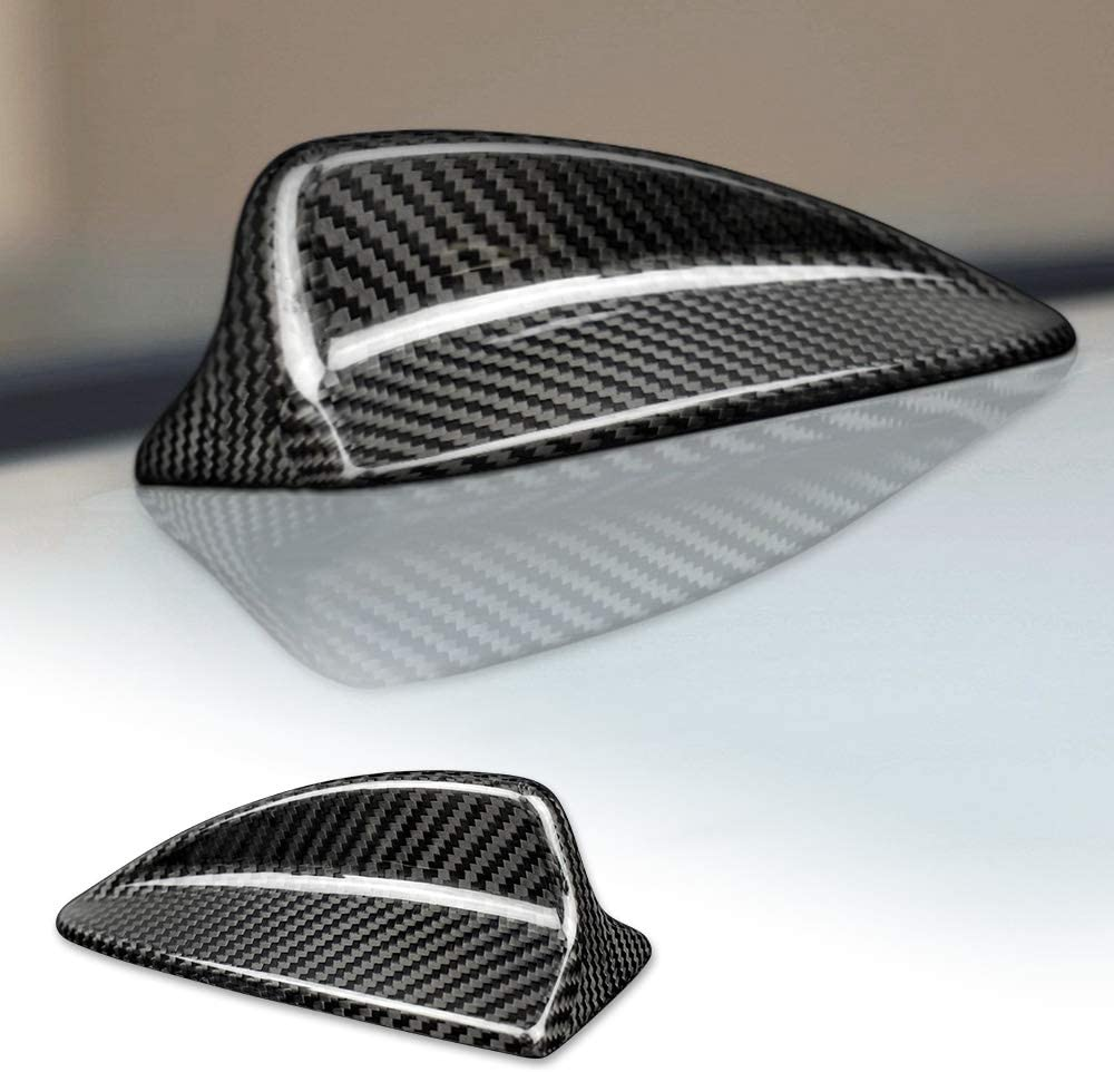 AIRSPEED Carbon Fiber Car Shark Fin Antenna Cover Radio Signal Base for BMW E82 E46 E90 E92 M3 Accessories (Black)