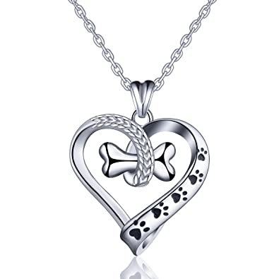 Women's Necklaces 925 Sterling Silver Infinity Hearts Pet Paw Print Pendant Necklace Best Gifts for Women with Gift Packed
