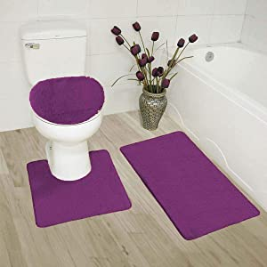 Elegant Home Goods Solid Color 3 Piece Bathroom Rug Set Bath Rug, Contour Mat, Lid Cover Non-Slip with Rubber Backing Solid Color New #6 (Purple)