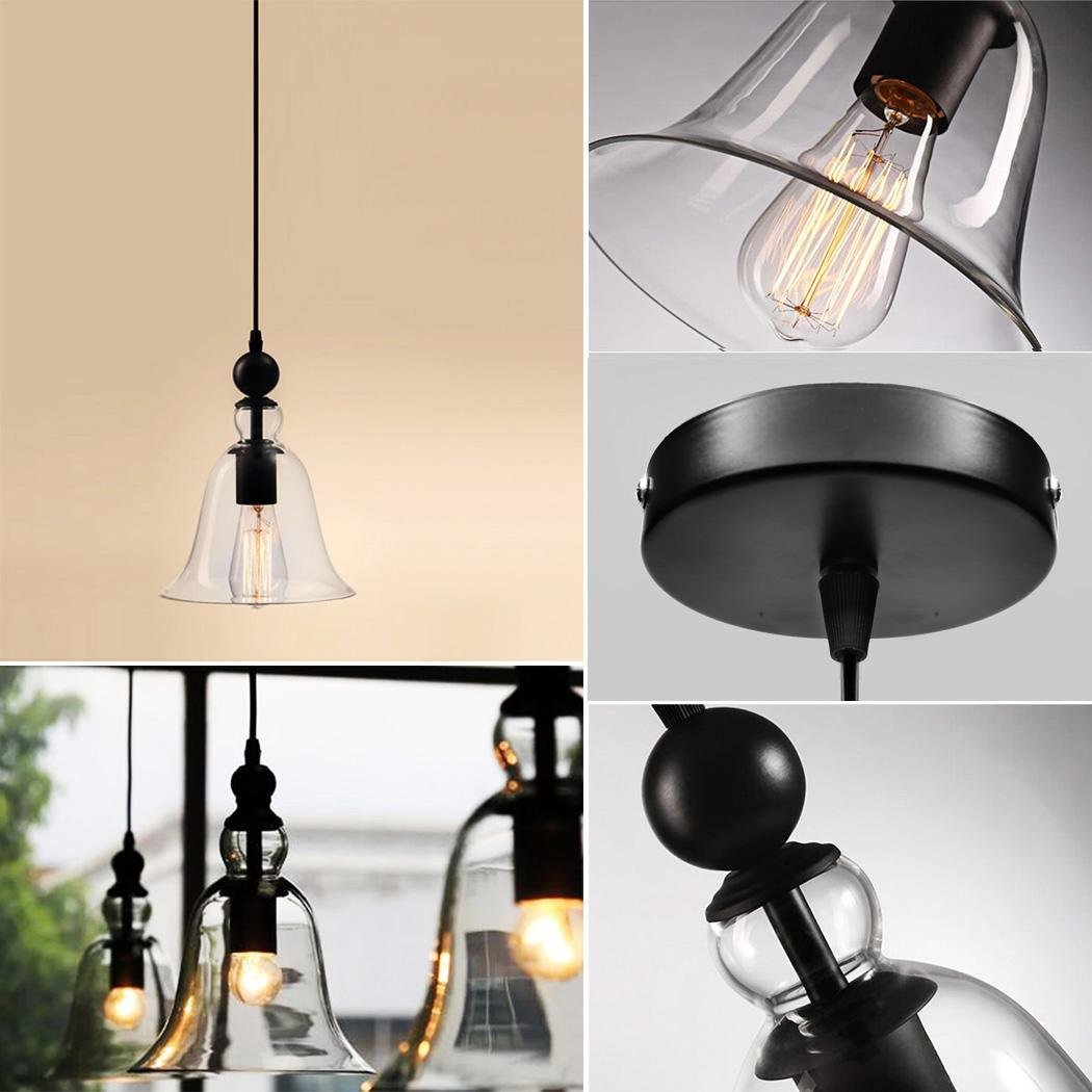 Home Lighting Modern Industrial Factory Edison Vintage Style Pendant Light Hanging Glass Transparent Ceiling Light Lamp Chandelier by Cosway