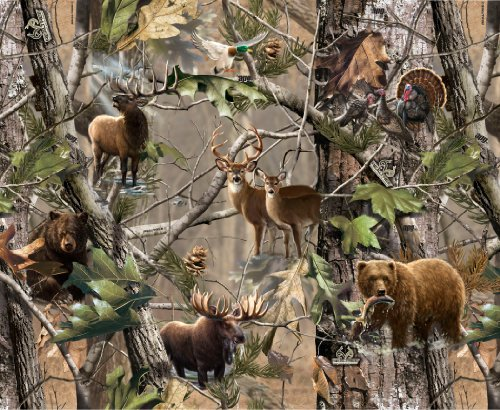 REAL TREE COTTON FABRIC BY SYKEL-REAL TREE CAMOUFLAGE COTTON ANIMALS IN FORREST-SOLD BY THE YARD