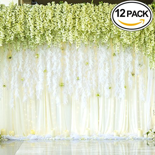 XGpie 12 Piece 3.6 Feet Artificial Silk Wisteria Vine Rattan Hanging Flower for Party Home Wedding Decor