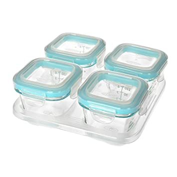 Attirant OXO Tot Glass Baby Blocks Freezer Storage Containers   4 Oz, Aqua