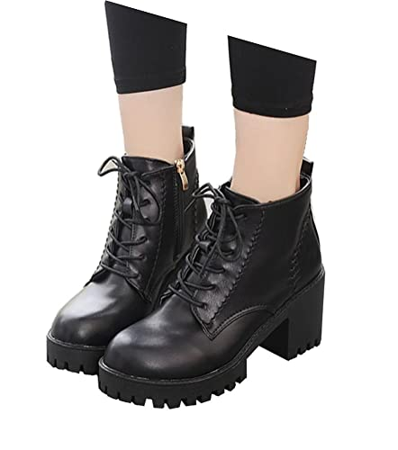 Women's Teen Girls Mid Heel Waterproof High Top Plush Boots Casual Shoes