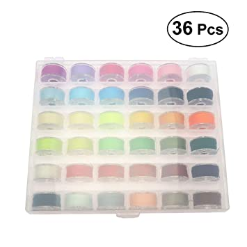 SUPVOX 36 unids carrete de bobinas de colores hilo de coser con caja de almacenamiento caja
