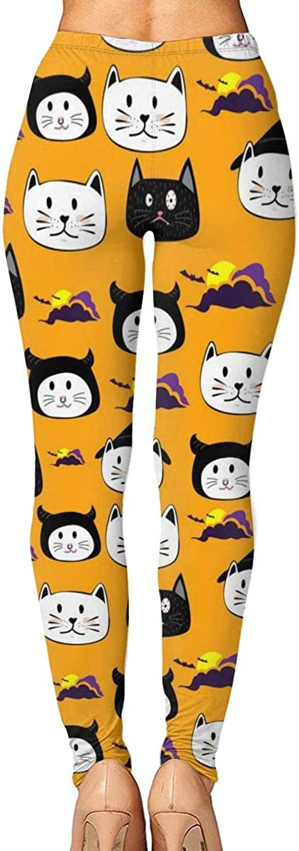 Cute Face Cat Womens Printed Yoga Pants High Waisted Workout Leggings