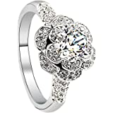 Affectueux Rose Rond 6MM Couper Ring Zircon AAA avec Pave Band or blanc plaqué