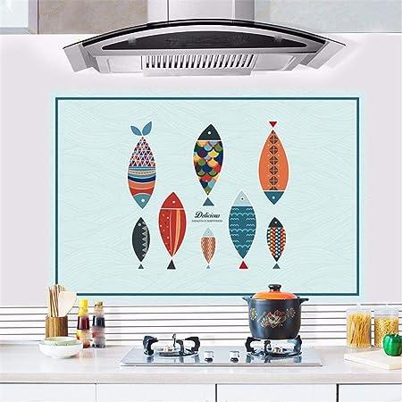 RUIPENGPENG Adhesivo de pared Adhesivo removible impermeable para niños Sala Vivero bebé dibujos animados peces resistentes al calor del horno óleo restaurante auto-adhesivo resistente al agua de baño ,88*58cm.: Amazon.es: Hogar