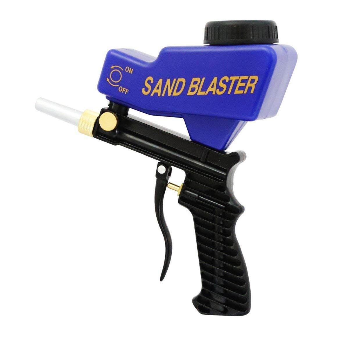 Funnyrunstore Pistolet de sablage alimenté par gravité Air Sandblast Pistolet de pulvérisation de sable portable Speed Blaster pour enlever la rouille Sableuse (Couleur: bleu)