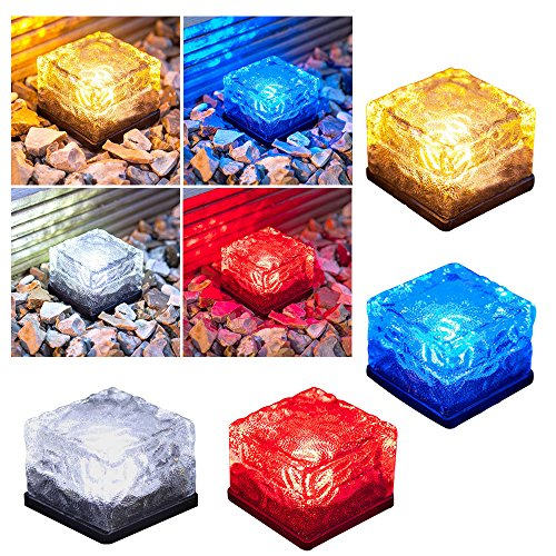 LUCKSTAR LED Solar Glass Ice Cube Lights - Waterproof Frosted Glass Brick Rock Lamp Outdoor Solar Garden Light for Path Yard Garden Lawn Driveway Decoration (Set of 4.)]()