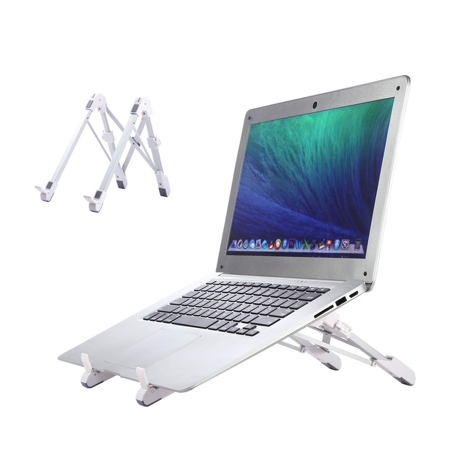 GUSODOR Laptop Stand Adjustable Notebook Holder Ergonomic Folding Portable Ventilated Desktop Tablet Stand with Lightweight & Compact Universal Fit for Most Laptops * White