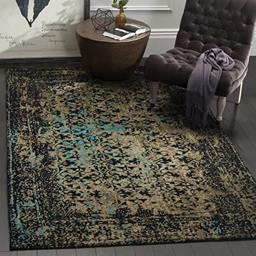 Safavieh Classic Vintage Collection CLV223B Black and Olive Square Area Rug 6 Square
