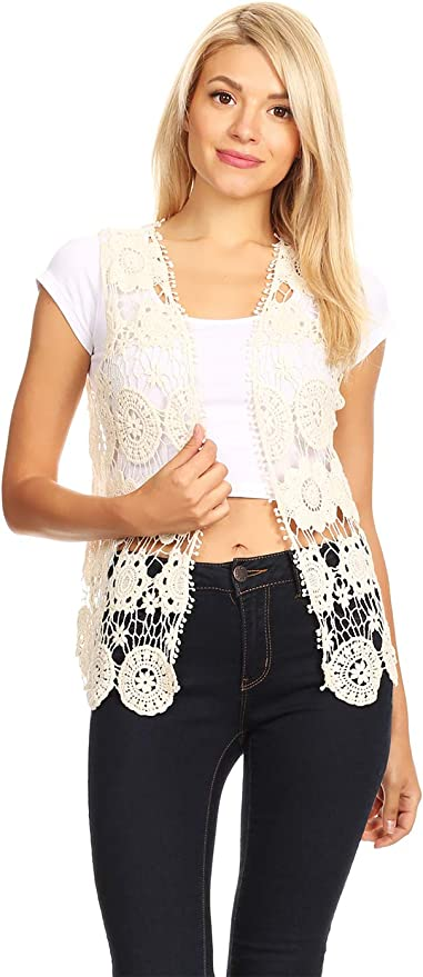 V Neck Crochet Sweater Lacy Vest Back Detail Ruffled Vest Lacy Sweater Black Vest Fine Vest Crochet Vest Bias Vest OOAK Vest