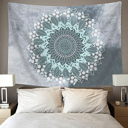 BLEUM CADE Tapestry Mandala Hippie Bohemian Tapestries Wall Hanging Flower Psychedelic Tapestry Wall Hanging Indian Dorm Decor Living Room Bedroom(51.2''×59.1'', Mandala Tapestry) by BLEUM CADE