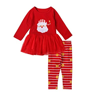 Timall Baby Girls Santa Claus Red Dress Set Santa Claus Tutu Dress + Stripes Pants Outfits